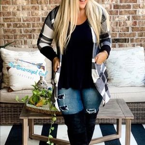 Lilly White and Black Buffalo Plaid Cardigan